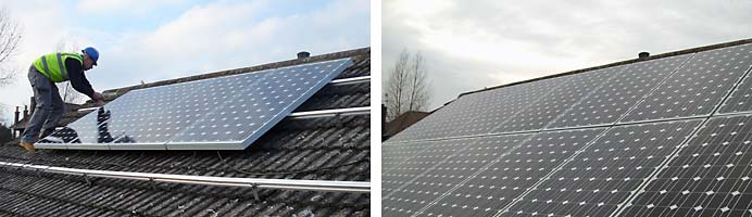 Completion stages of solar panels