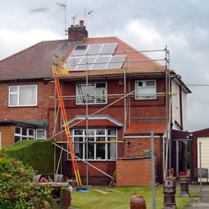 Final stage of a solar panel installation