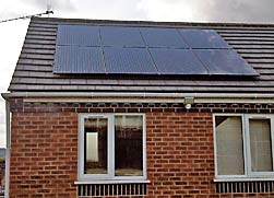 A black solar panel installation
