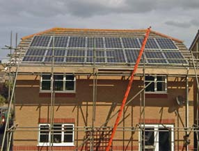 Sharp solar panel installation